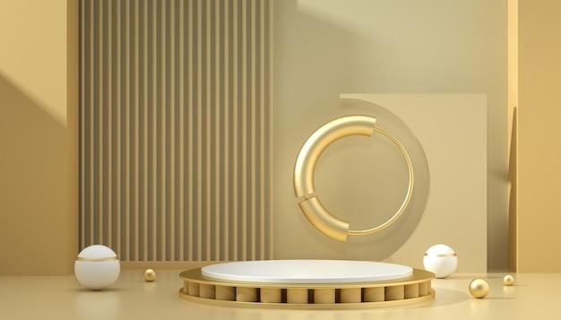 Renderização 3d do fundo abstrato com pódio e círculos para exibição do produto