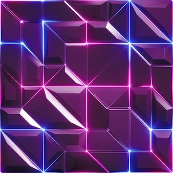 Renderização 3d do fundo abstrato roxo facetado com linhas de néon brilhante azul rosa