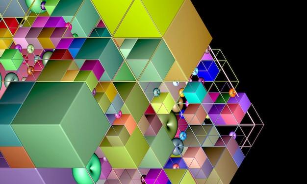 Renderização 3d do fundo da arte abstrata com parte do cubo ou caixa em vista isométrica