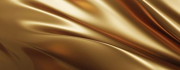 Renderização 3d do fundo de tecido dourado