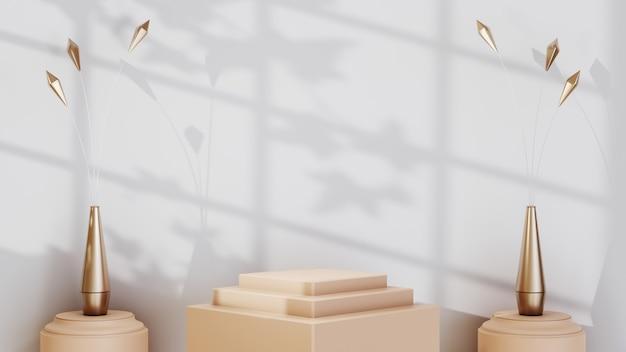 Renderização 3d do fundo do produto em branco para exibir decorações de moda e cosméticos em creme. fundo moderno do pódio para produtos de luxo.