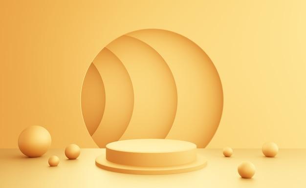 Renderização 3d do fundo mínimo abstrato do pódio amarelo vazio