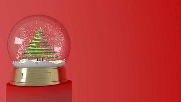 Renderização 3d do globo de neve