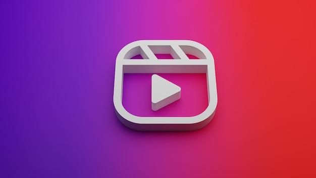 Renderização 3d do ícone de carretéis no fundo gradiente do instagram