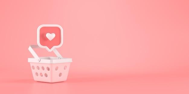 Renderização 3d do ícone de mensagem de coração e cesta.