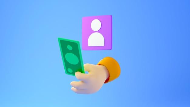 Renderização 3d do ícone de pessoa roxa e uma mão segurando uma nota no fundo azul