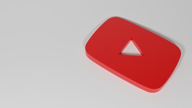 Renderização 3d do ícone do youtube
