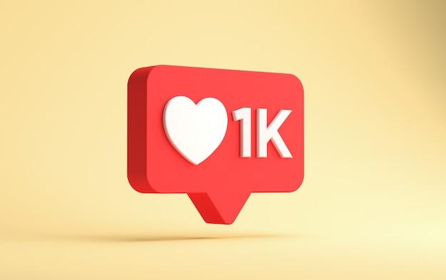 Renderização 3d do instagram mil curtidas notificação flutuante isolada em uma parede amarela