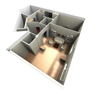 Renderização 3d do interior da casa com foco na sala de estar