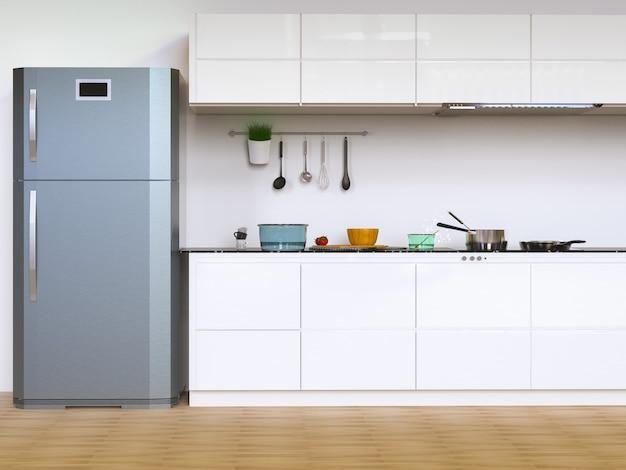Renderização 3d do interior da cozinha com armários e geladeira