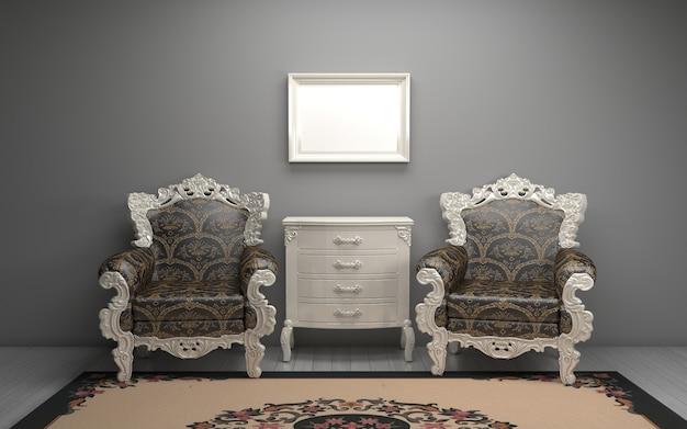 Renderização 3d do interior da moderna sala de estar com cadeiras