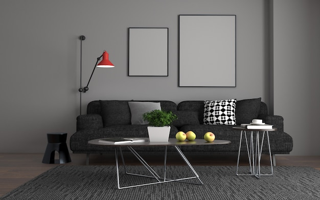 Renderização 3d do interior da moderna sala de estar com sofá - sofá e mesa
