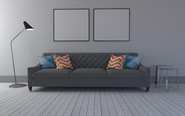 Renderização 3d do interior da moderna sala de estar com sofá