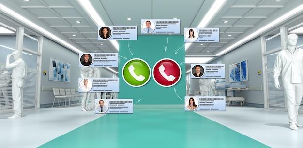 Renderização 3d do interior de um hospital com contatos conectando-se em uma videoconferência