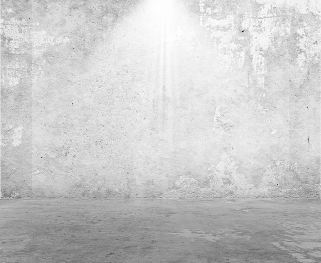 Renderização 3d do interior de uma sala em estilo grunge com holofote brilhando