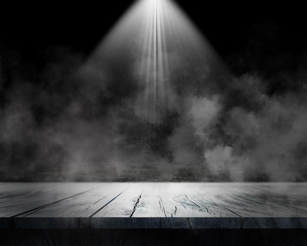 Renderização 3d do interior de uma sala grunge com tampo de mesa e atmosfera esfumaçada