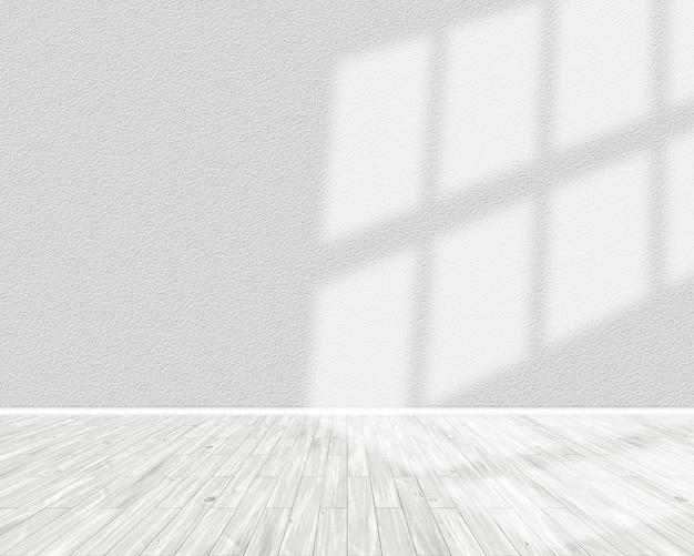 Renderização 3d do interior de uma sala iluminada com o sol brilhando da direita