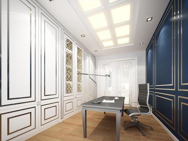 Renderização 3d do interior do escritório