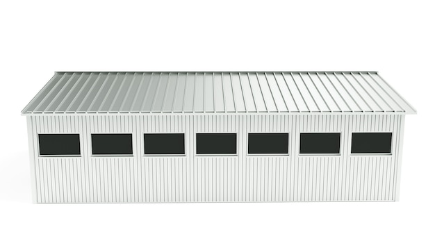 Renderização 3d do interior escuro da fábrica ou do depósito vazio, uma tela branca brilhante no meio
