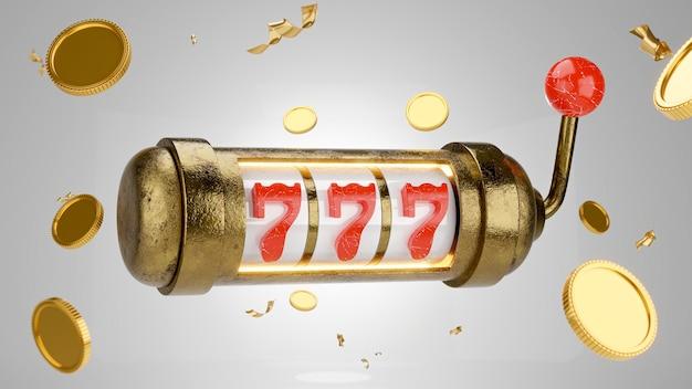 Renderização 3d do jackpot 777 no conceito de jogo de caça-níqueis de cassino para exibição de produto