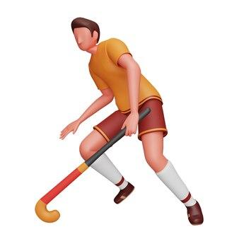 Renderização 3d do jogador de hóquei masculino em pose de jogo sobre fundo branco.