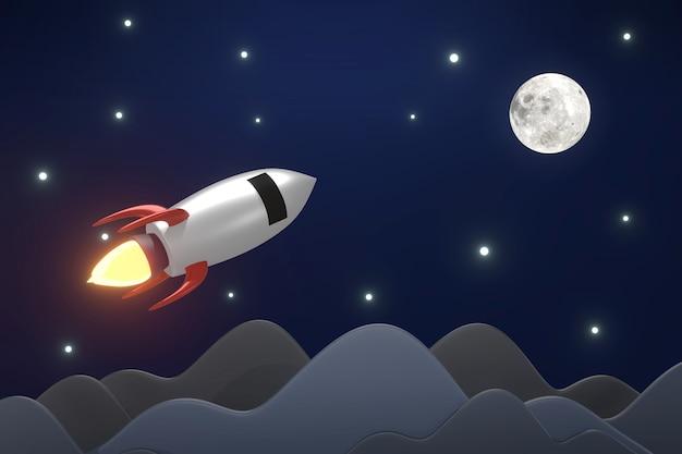 Renderização 3d do lançamento de foguete para o espaço com efeito de fogo no céu escuro e nas estrelas do motor a jato