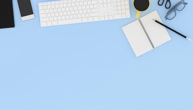 Renderização 3d do local de trabalho com acessórios.