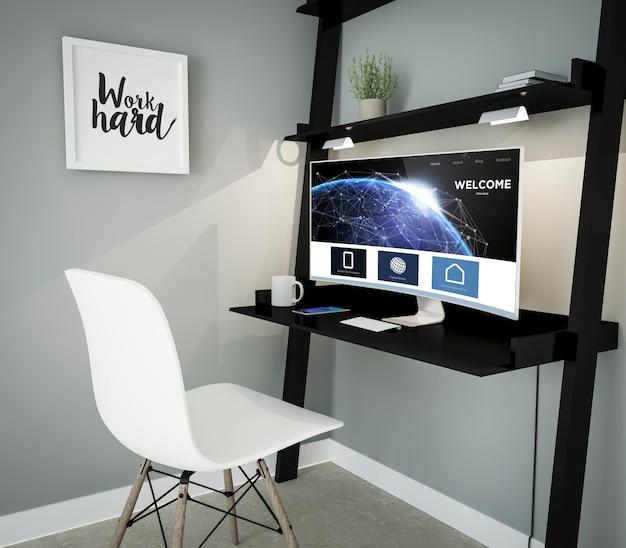 Renderização 3d do local de trabalho com computador com tela curva