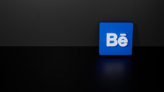 Renderização 3d do logotipo brilhante do behance em fundo preto escuro