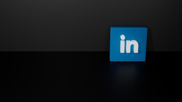 Renderização 3d do logotipo brilhante do linkedin em fundo preto escuro