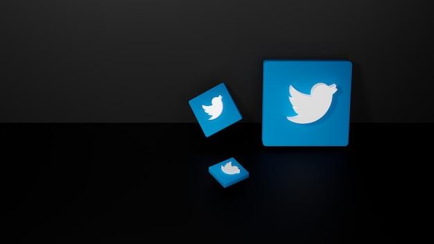 Renderização 3d do logotipo brilhante do twitter em fundo preto escuro