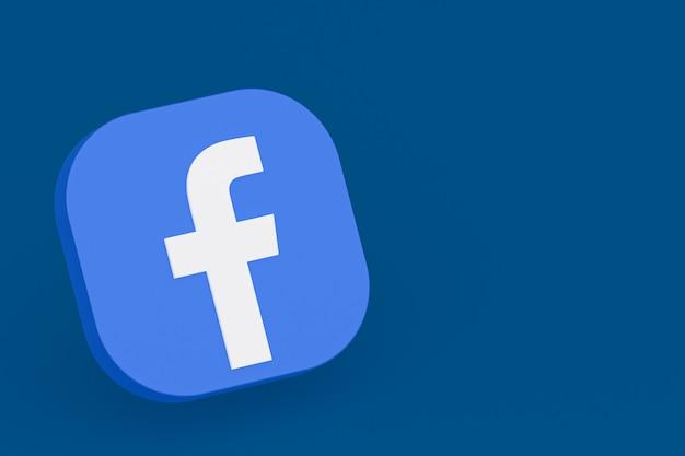 Renderização 3d do logotipo do aplicativo do facebook em fundo azul
