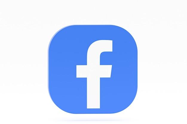 Renderização 3d do logotipo do aplicativo do facebook em fundo branco