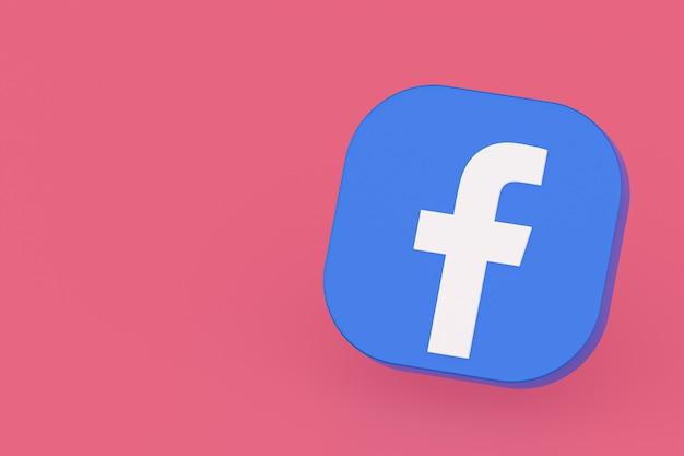 Renderização 3d do logotipo do aplicativo do facebook em fundo rosa