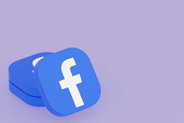 Renderização 3d do logotipo do aplicativo do facebook em fundo roxo