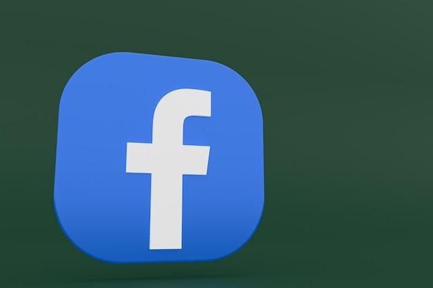 Renderização 3d do logotipo do aplicativo do facebook em fundo verde