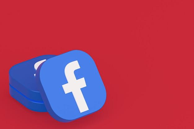Renderização 3d do logotipo do aplicativo do facebook em fundo vermelho