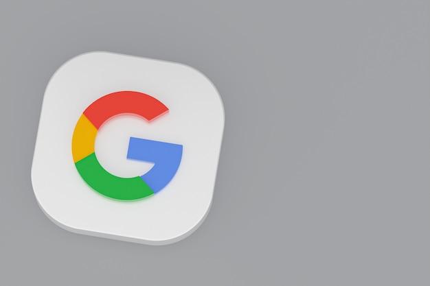 Renderização 3d do logotipo do aplicativo google em fundo cinza