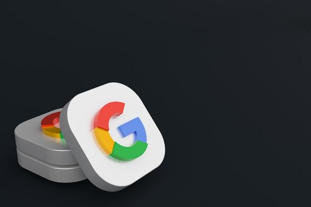Renderização 3d do logotipo do aplicativo google em fundo preto