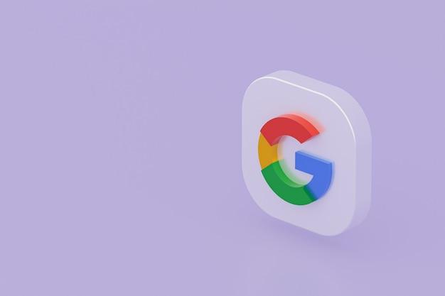 Renderização 3d do logotipo do aplicativo google em fundo roxo
