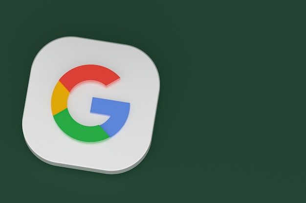 Renderização 3d do logotipo do aplicativo google em fundo verde