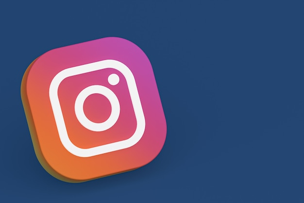 Renderização 3d do logotipo do aplicativo instagram em fundo azul