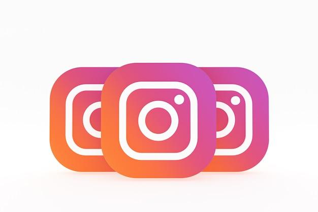Renderização 3d do logotipo do aplicativo instagram em fundo branco