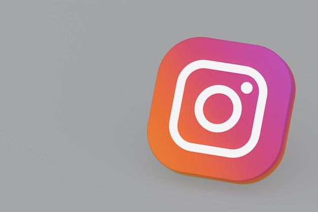 Renderização 3d do logotipo do aplicativo instagram em fundo cinza
