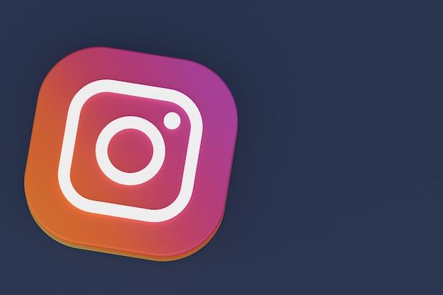 Renderização 3d do logotipo do aplicativo instagram em fundo preto