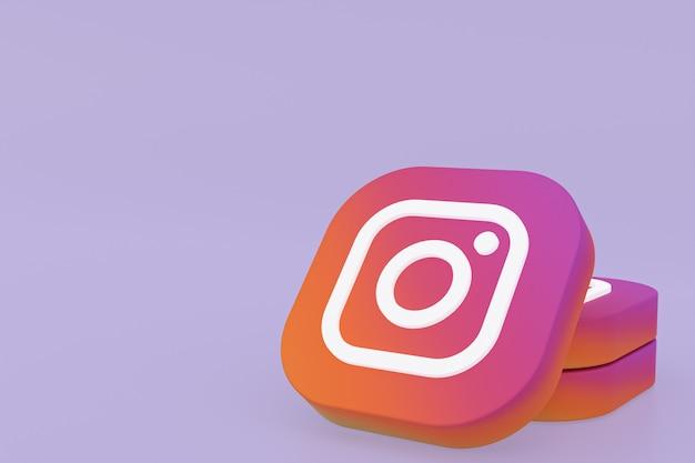 Renderização 3d do logotipo do aplicativo instagram em fundo roxo