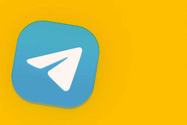 Renderização 3d do logotipo do aplicativo telegram em fundo amarelo