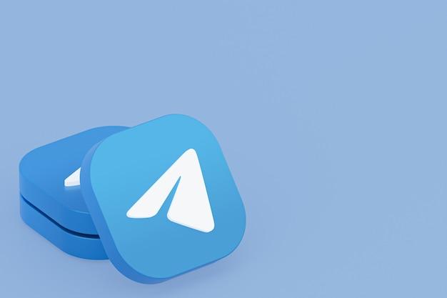 Renderização 3d do logotipo do aplicativo telegram em fundo azul