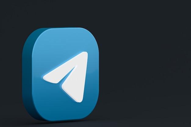 Renderização 3d do logotipo do aplicativo telegram em fundo preto