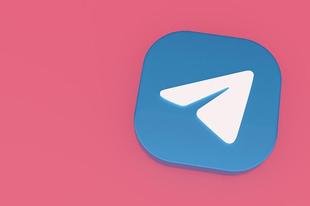 Renderização 3d do logotipo do aplicativo telegram em fundo rosa
